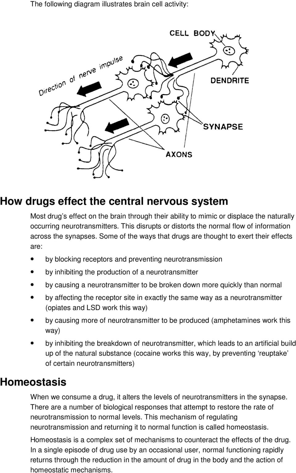 Some of the ways that drugs are thought to exert their effects are: by blocking receptors and preventing neurotransmission by inhibiting the production of a neurotransmitter by causing a
