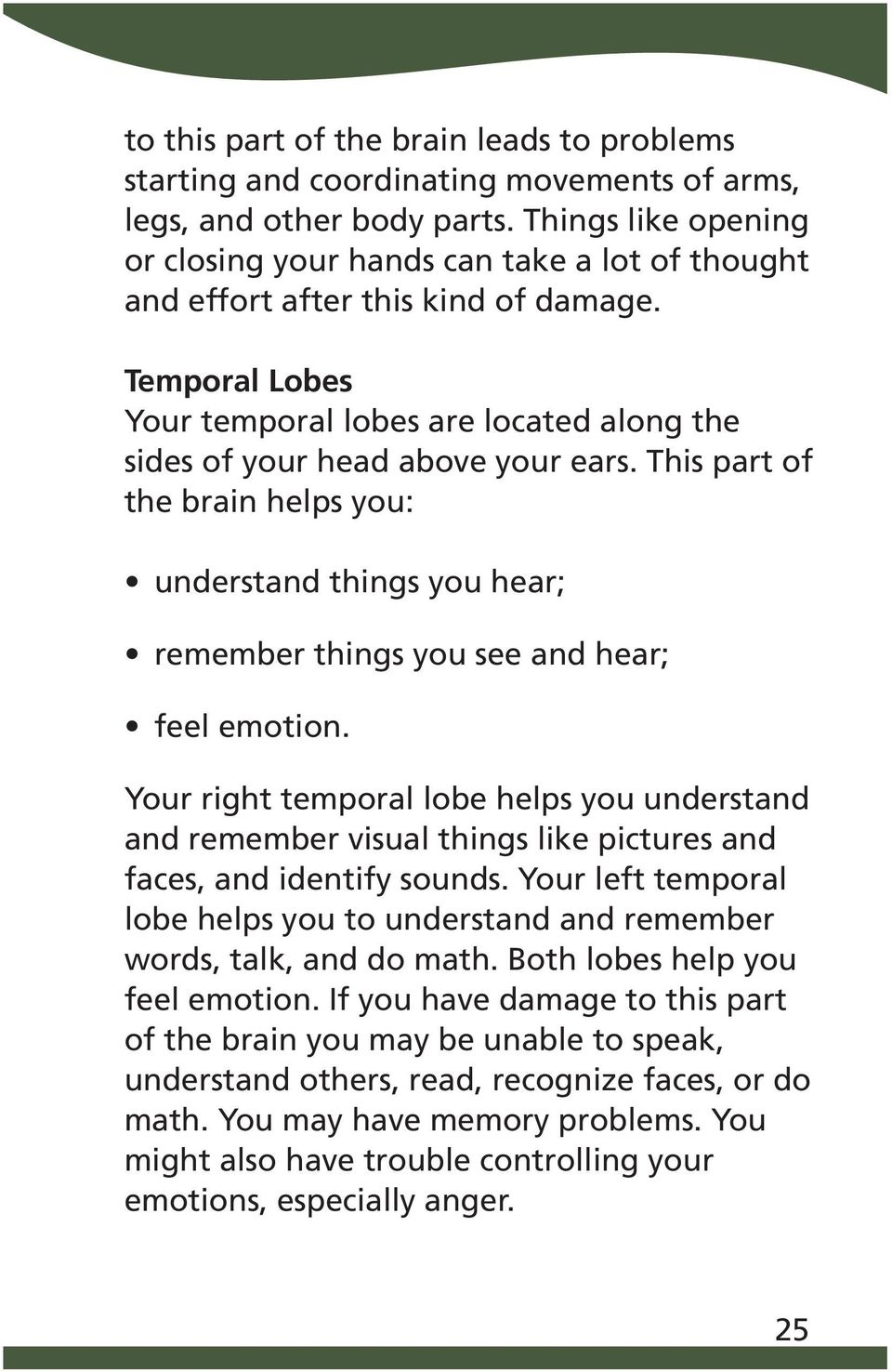 This part of the brain helps you: understand things you hear; remember things you see and hear; feel emotion.
