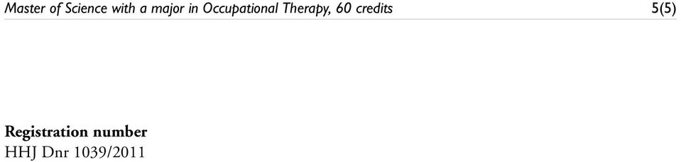 Therapy, 60 credits 5(5)