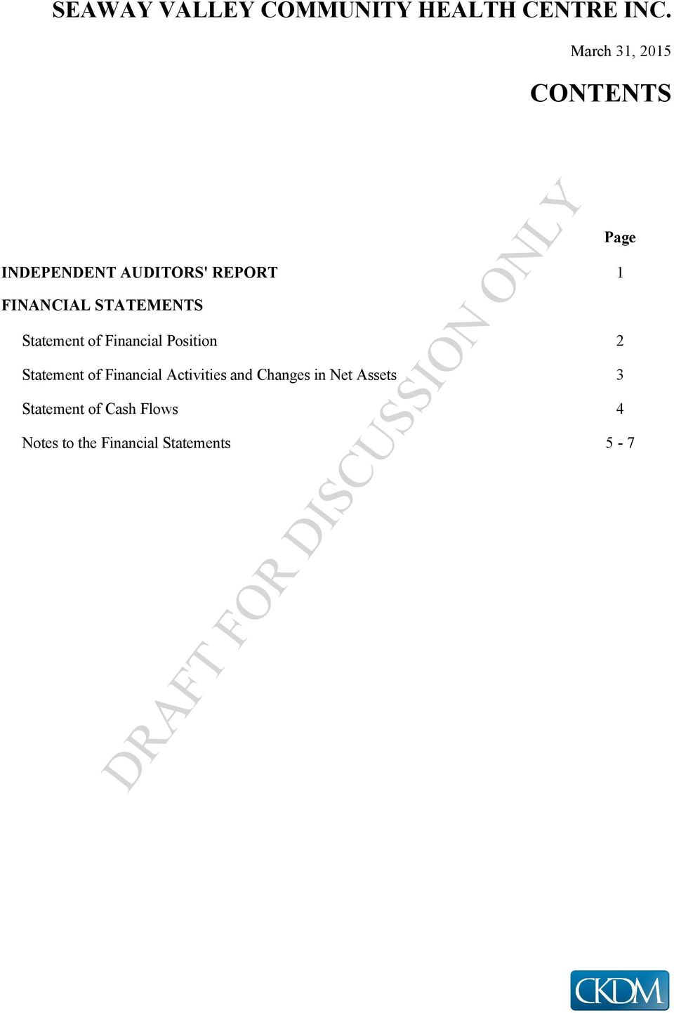 Statement of Financial Activities and Changes in Net Assets