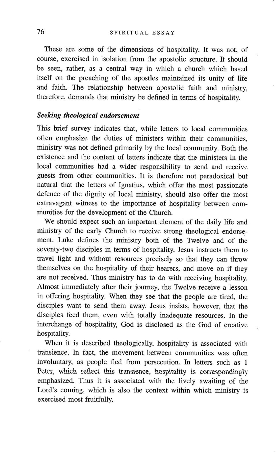 Spiritual Essay  The other bits  Ministry as hospitality