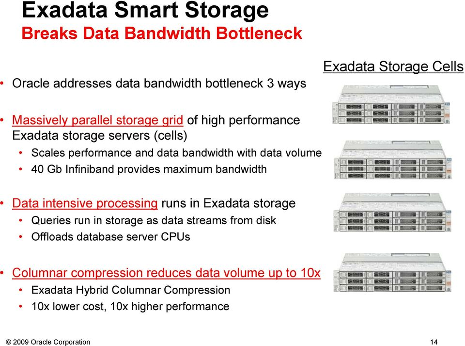maximum bandwidth Data intensive processing runs in Exadata storage Queries run in storage as data streams from disk Offloads database server CPUs