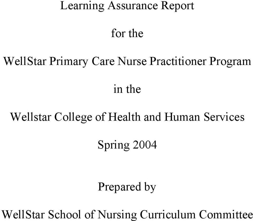 College of Health and Human Services Spring 2004