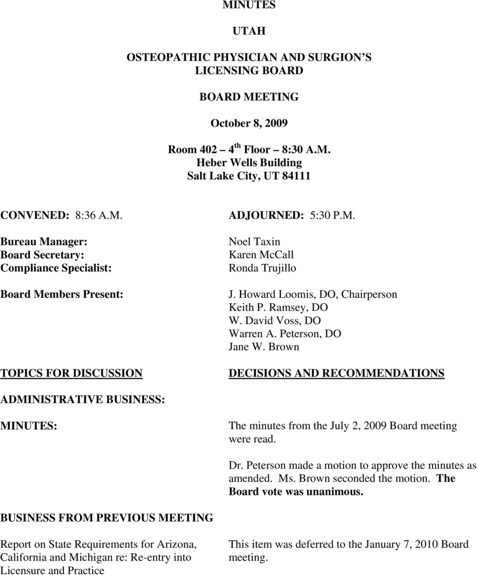 minutes utah osteopathic physician and surgion s licensing board