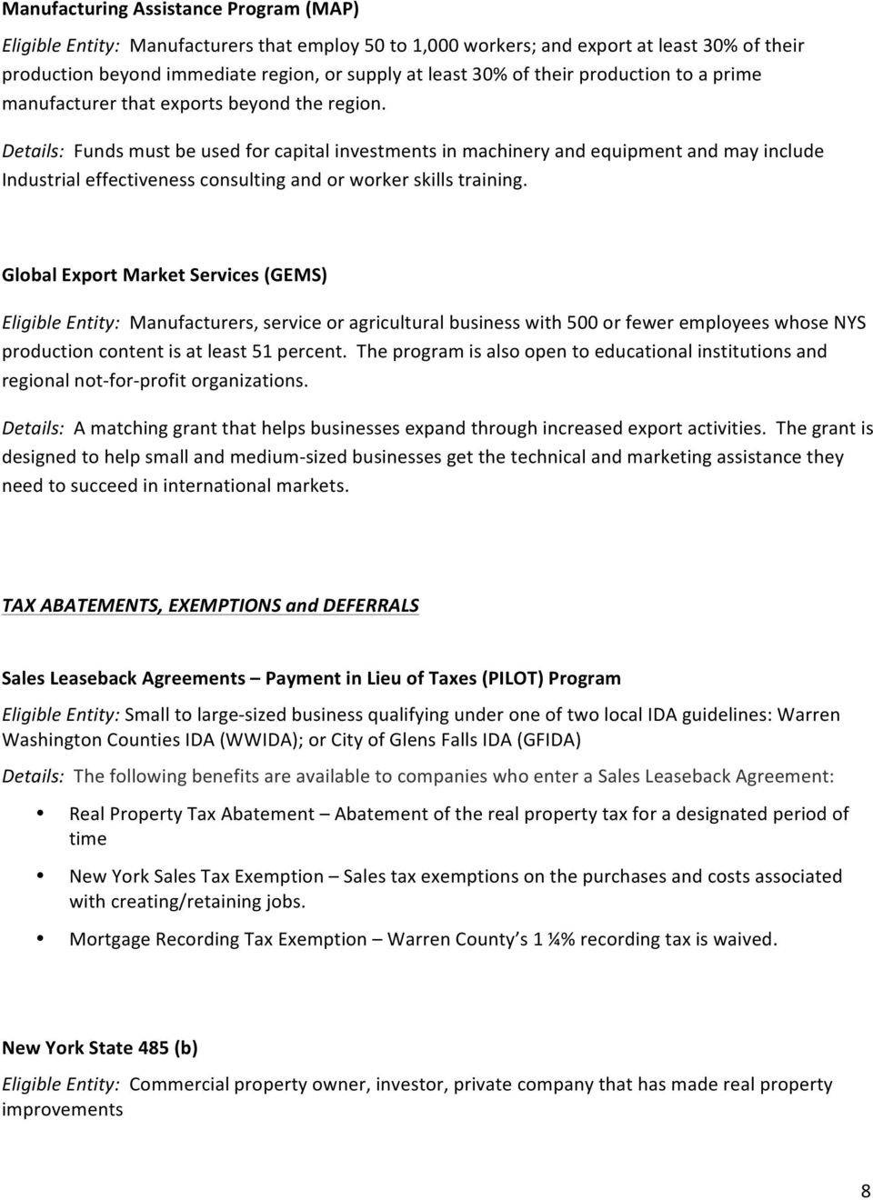 New York and Warren County Incentives & Financing Programs - PDF