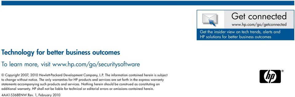 www.hp.com/go/securitysoftware Copyright 2007, 2010 Hewlett-Packard Development Company, L.P. The information contained herein is subject to change without notice.
