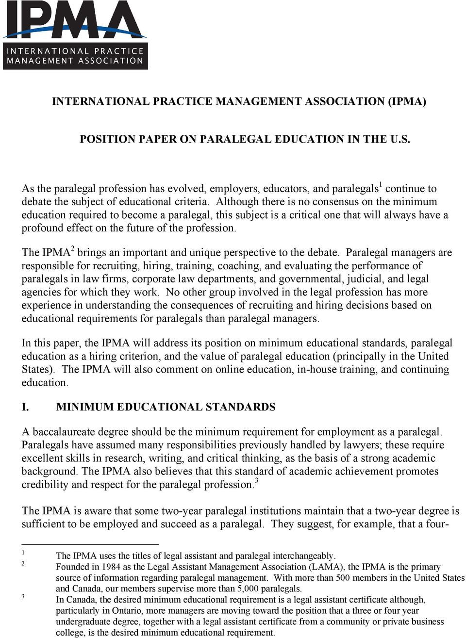 Position Paper On Paralegal Education In The Us Pdf