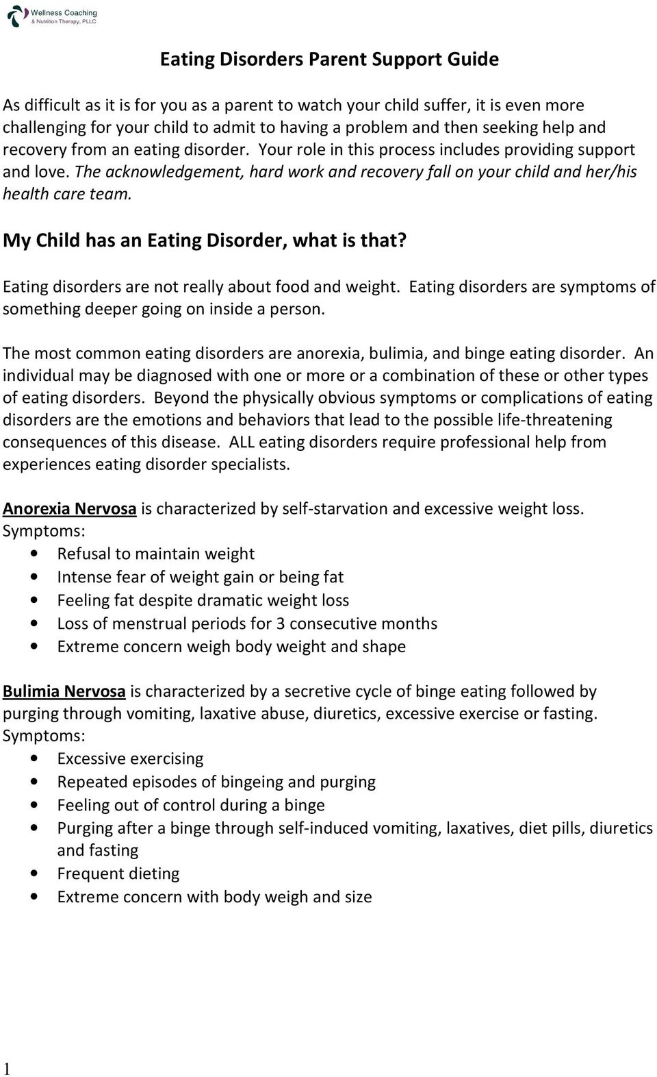 Eating Disorders Parent Support Guide - PDF
