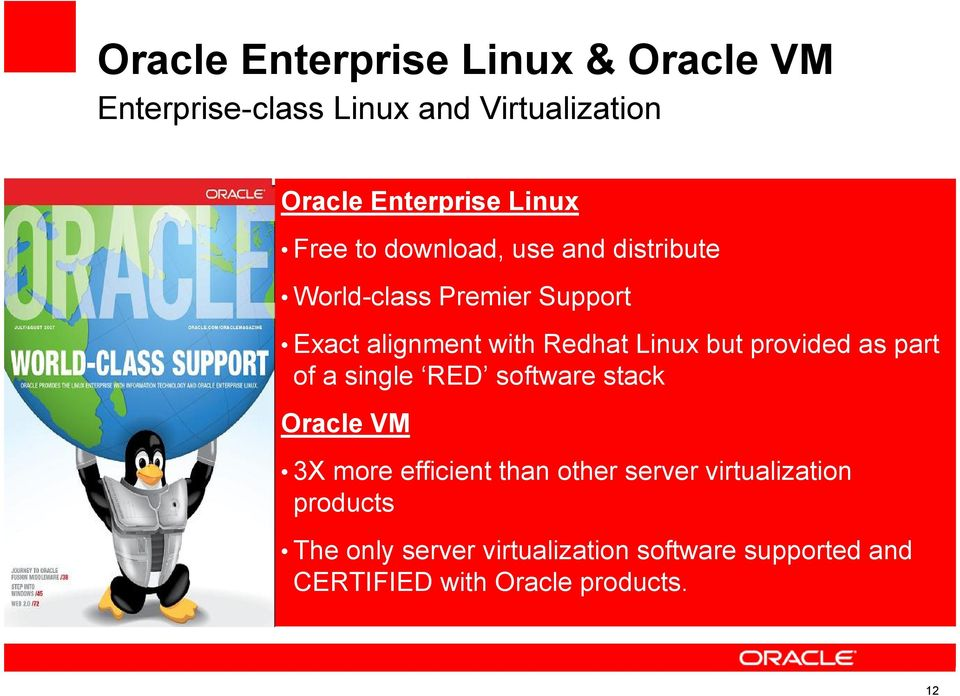 of a single RED software stack Oracle Accelerate VM return on IT investment 3X Reduce more efficient cost, risk, than and other