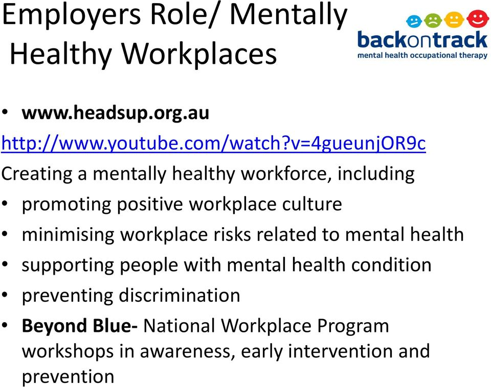 minimising workplace risks related to mental health supporting people with mental health condition