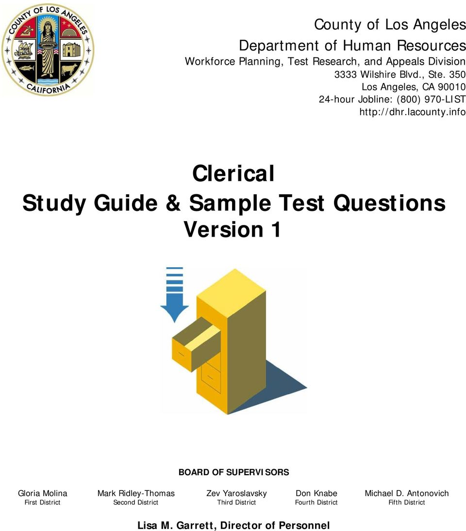 info Clerical Study Guide & Sample Test Questions Version 1 BOARD OF  SUPERVISORS Gloria Molina Mark
