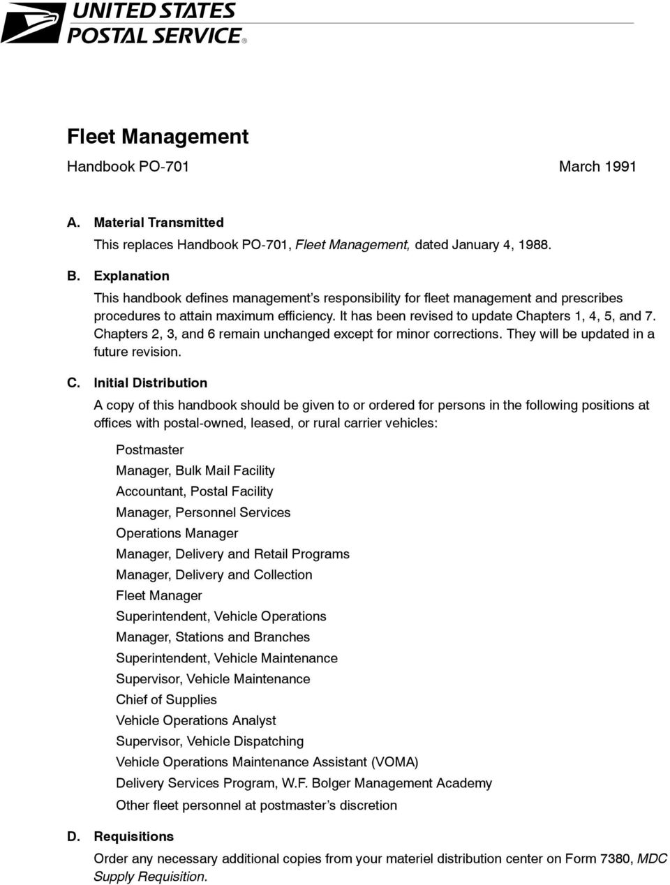 Update Notice  Handbook PO-701, Fleet Management March PDF