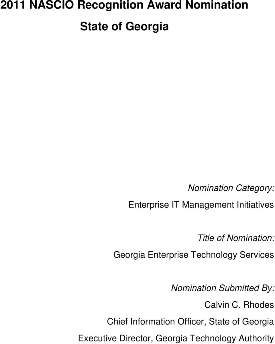 Enterprise Technology Services Nomination Submitted By: Calvin C.