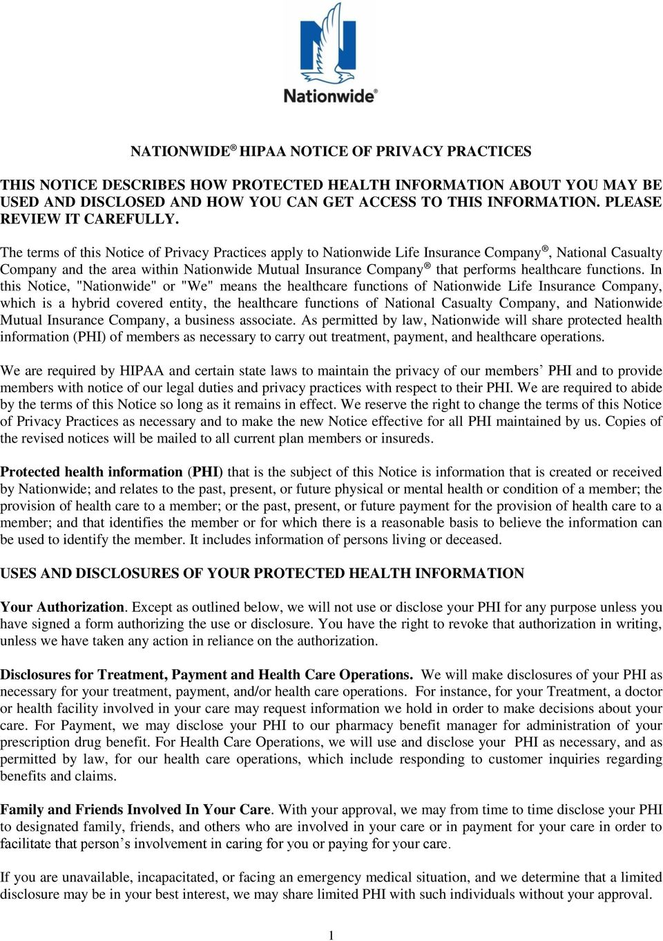 NATIONWIDE HIPAA NOTICE OF PRIVACY PRACTICES - PDF
