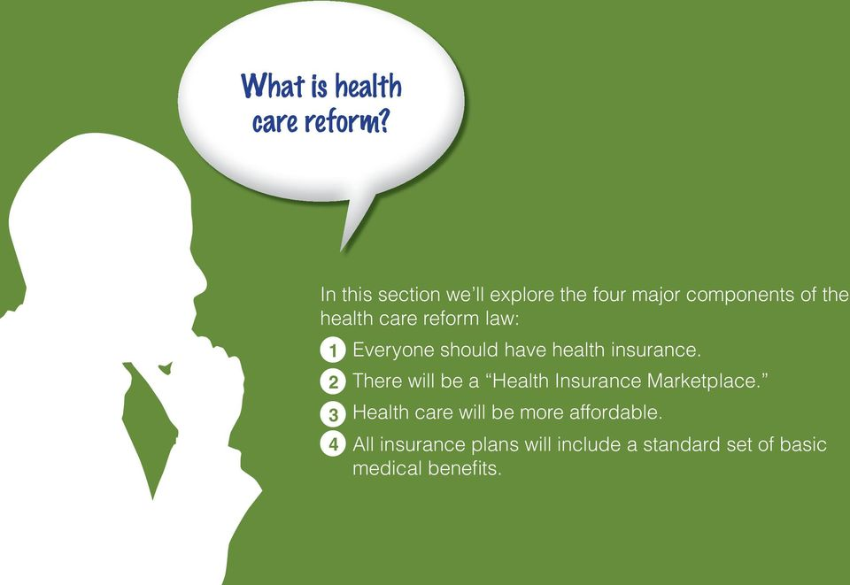 reform law: 1 Everyone should have health insurance.