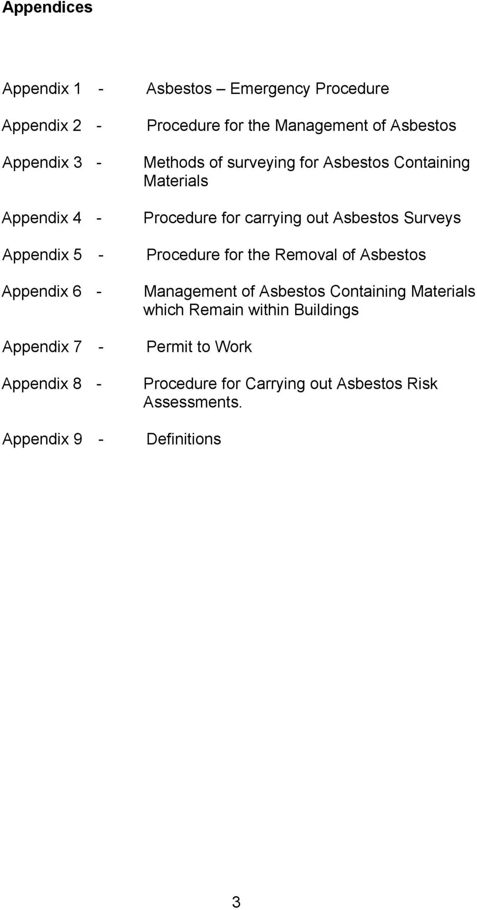 Containing Materials Procedure for carrying out Asbestos Surveys Procedure for the Removal of Asbestos Management of
