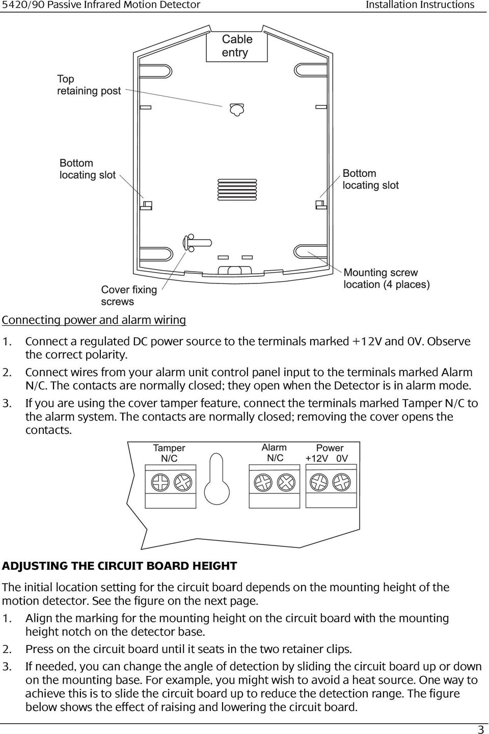 Passive Infrared Motion Detector 5420 90 Installation Instructions Power Circuit If You Are Using The Cover Tamper Feature Connect Terminals Marked N