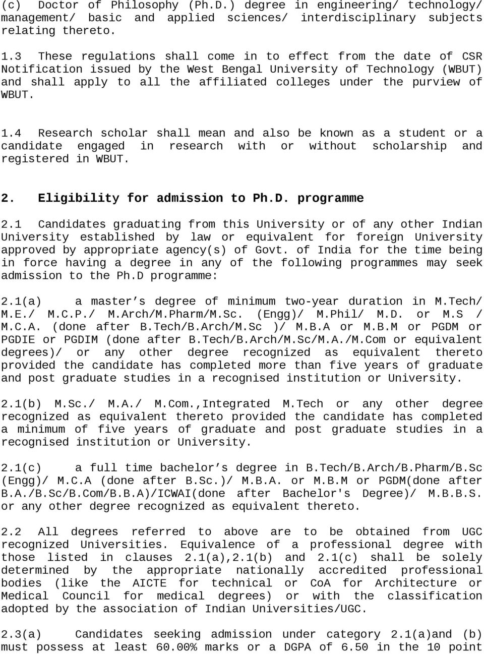 Draft Regulations Governing Doctoral Degrees Of Wbut For