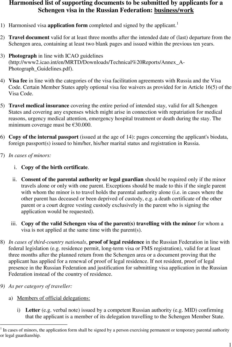 Harmonised List Of Supporting Documents To Be Submitted By Applicants For A Schengen Visa In The Russian Federation Business Work Pdf Free Download