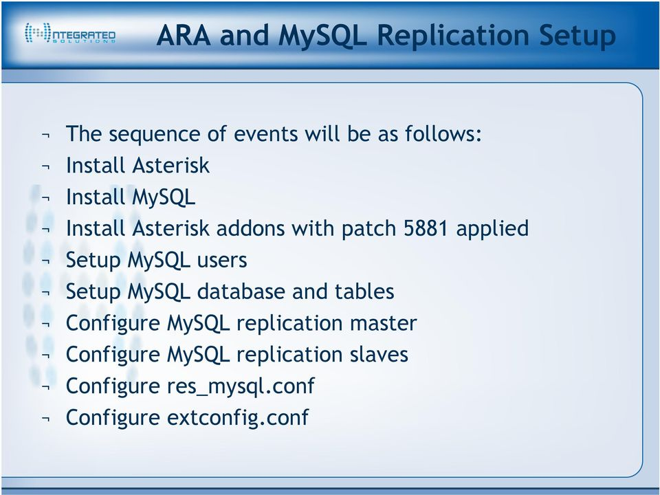 Asterisk Cluster with MySQL Replication  JR Richardson Engineering