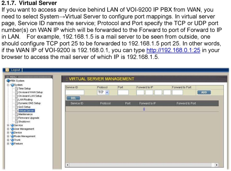 port of Forward to IP in LAN. For example, 192.168.1.5 is a mail server to be seen from outside, one should configure TCP port 25 to be forwarded to 192.168.1.5 port 25.