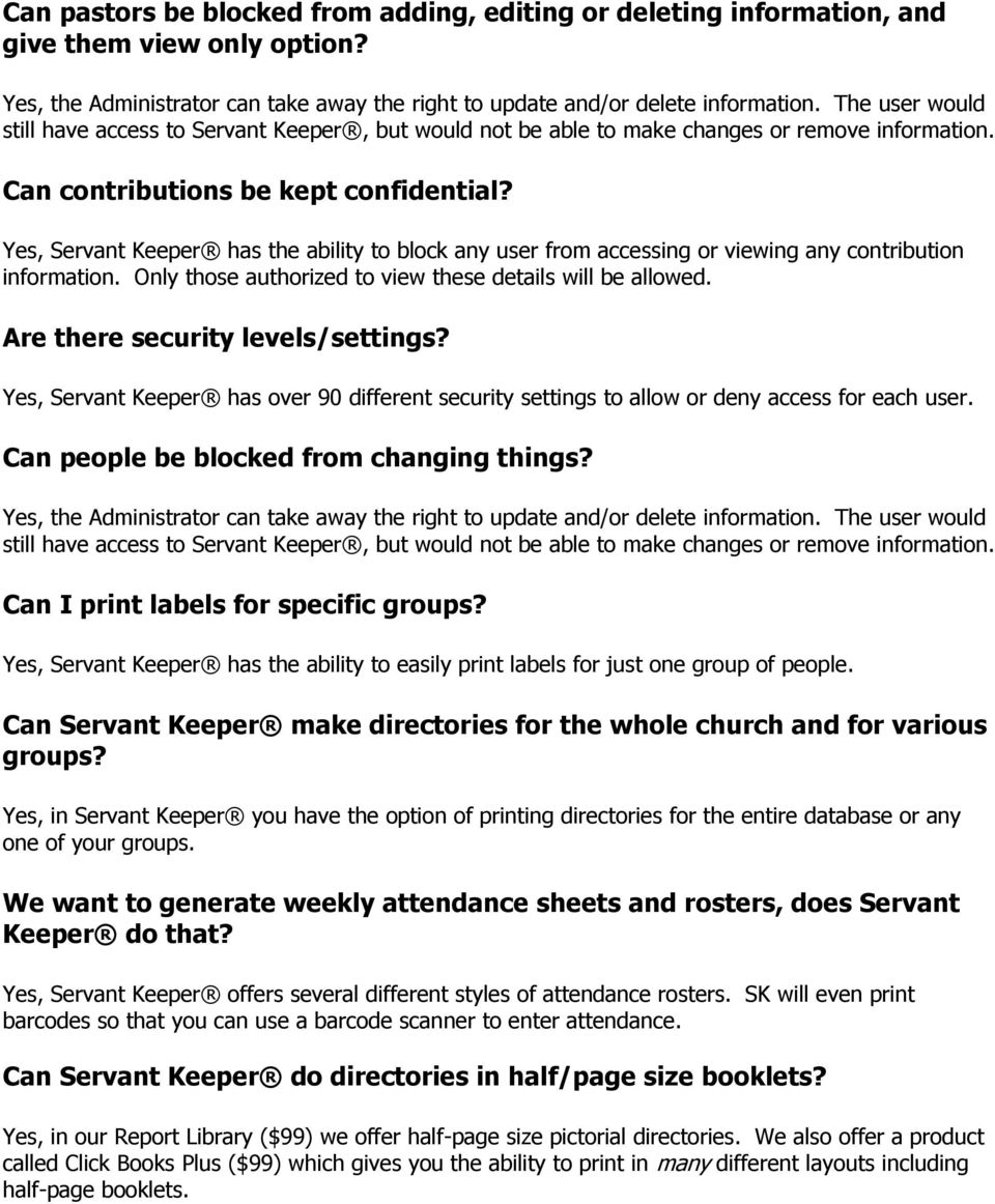 Servant Keeper Frequently Asked Questions - PDF
