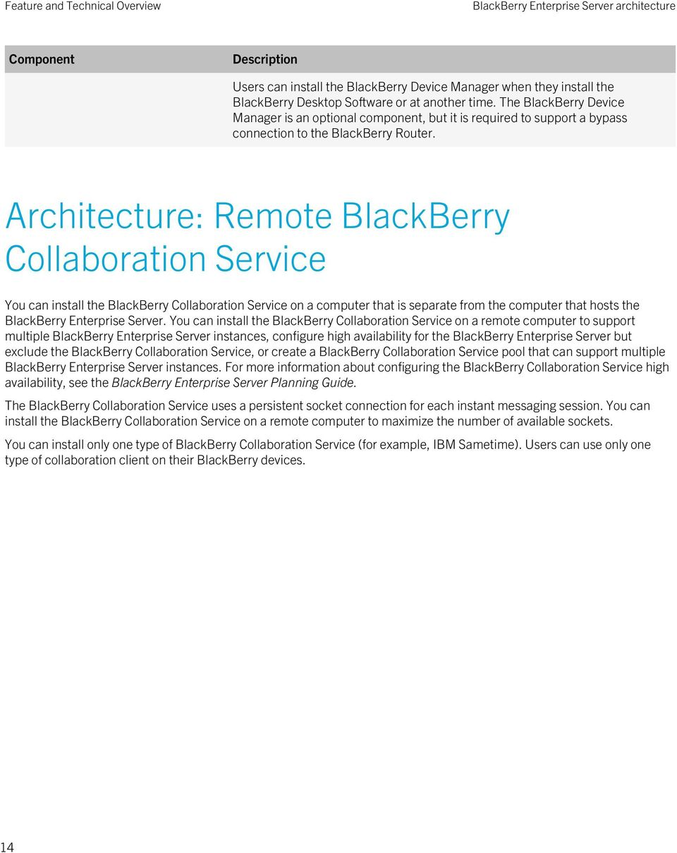 Architecture: Remote BlackBerry Collaboration Service You can install the BlackBerry Collaboration Service on a computer that is separate from the computer that hosts the BlackBerry Enterprise Server.