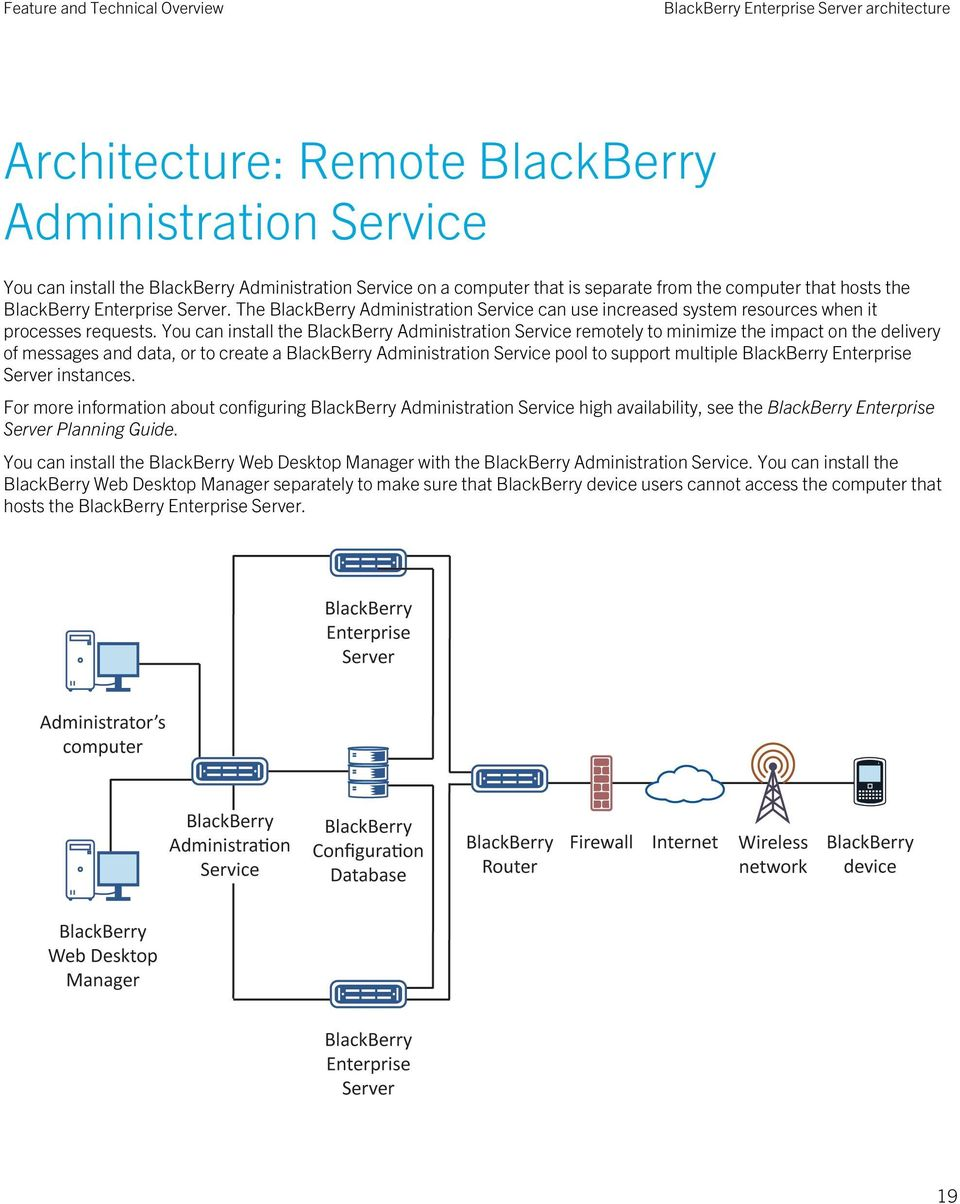 You can install the BlackBerry Administration Service remotely to minimize the impact on the delivery of messages and data, or to create a BlackBerry Administration Service pool to support multiple