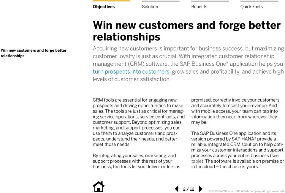 With integrated customer relationship management (CRM) software, the SAP Business One application helps you turn prospects into customers, grow sales and profitability, and achieve high levels of