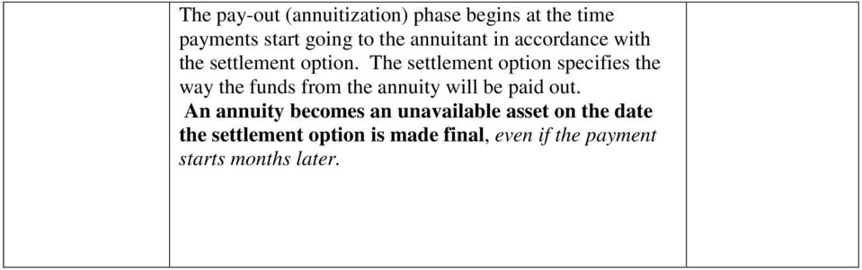 The settlement option specifies the way the funds from the annuity will be paid out.