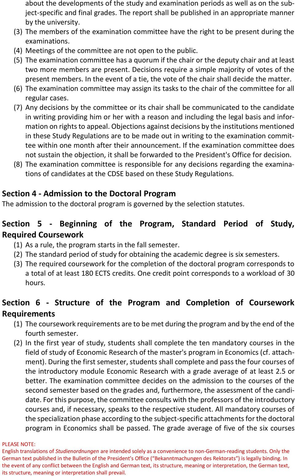 Study Regulations for the Doctoral Program in Economics at