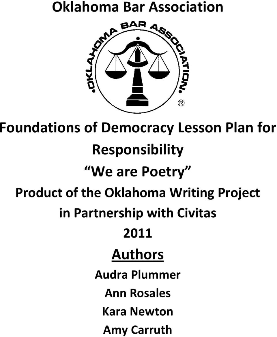 Oklahoma Bar Association Foundations Of Democracy Lesson Plan For