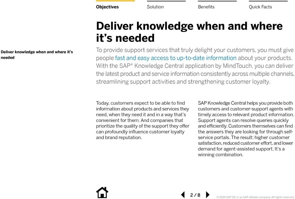 With the SAP Knowledge Central application by MindTouch, you can deliver the latest product and service information consistently across multiple channels, streamlining support activities and