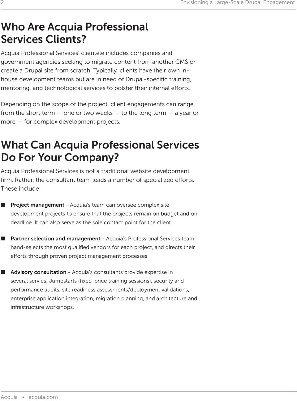 Envisioning a Large-Scale Drupal Engagement with Acquia