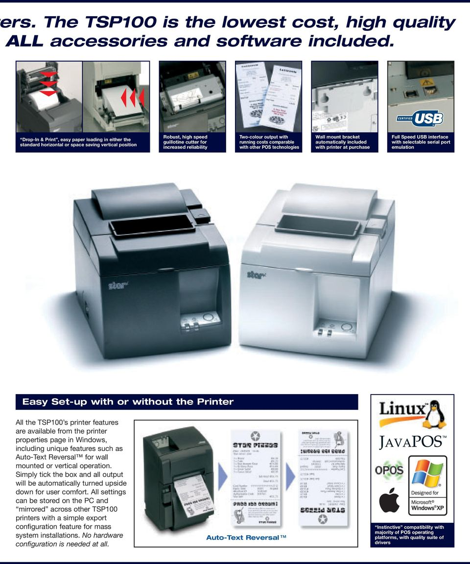 The Lowest Cost, High Quality POS Printer THE TSP100 SERIES