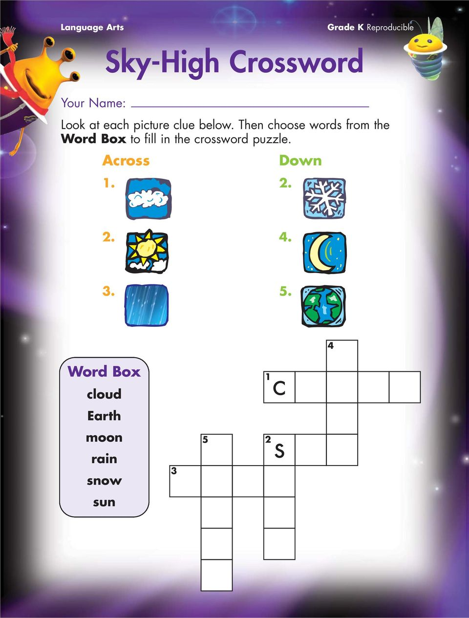 Then choose words from the Word Box to fill in the crossword