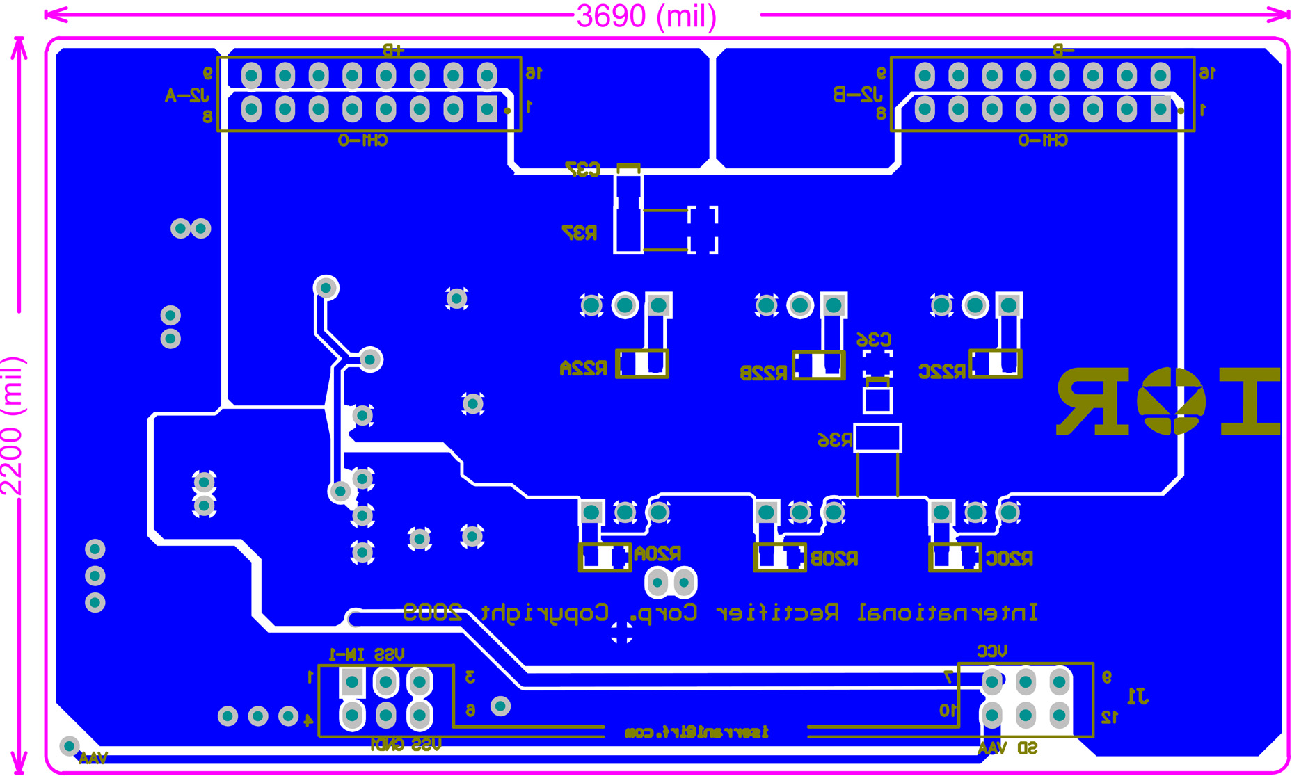 Iraudamp Kw 2 Single Channel Class D Audio Power Amplifier Using 12v 8211 32 V 5a Supply By Lm338 Figure 27 Iraudamp9 Daughter Board Pcb Top Overlay View 28