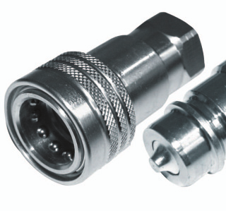 Hydraulic flat face quick release couplings set 3//4 BSP DN12 350 Bar rated Including female and male caps ISO 20 100 L//min