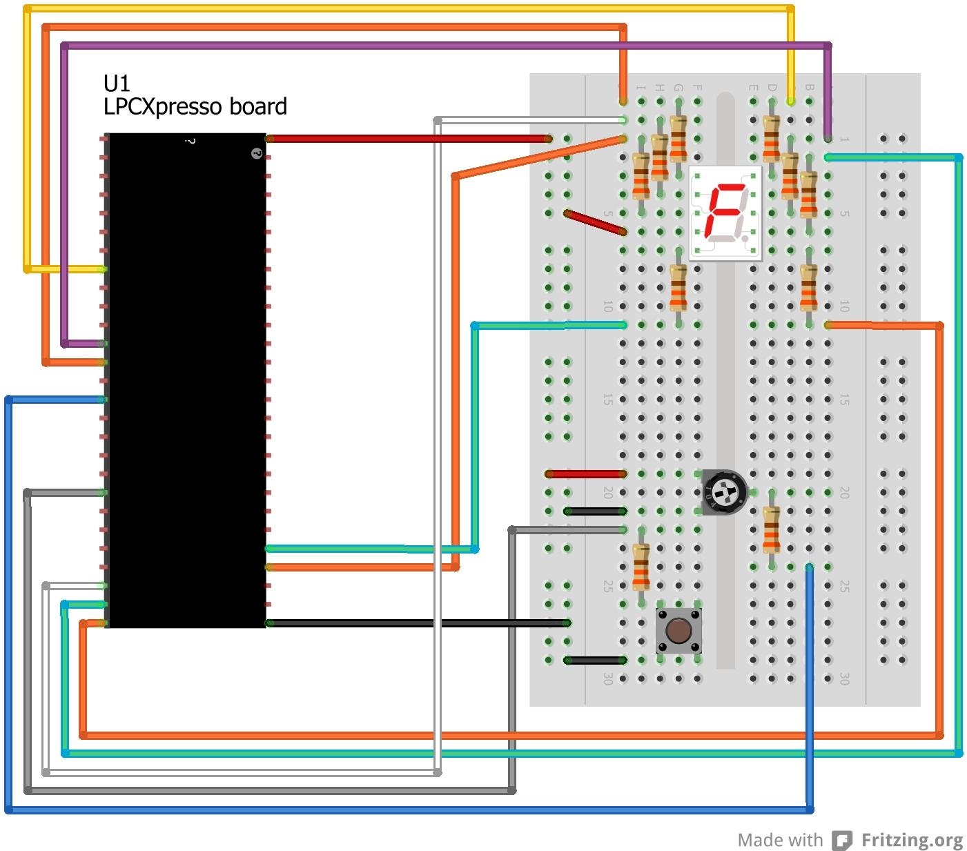 Lpcxpresso Experiment Kit User S Guide Pdf Circuit Diagram Of 7segment Display Interfacing To Arm Cortex M0 Page 65 Figure 36 Breadboard Connections For 7