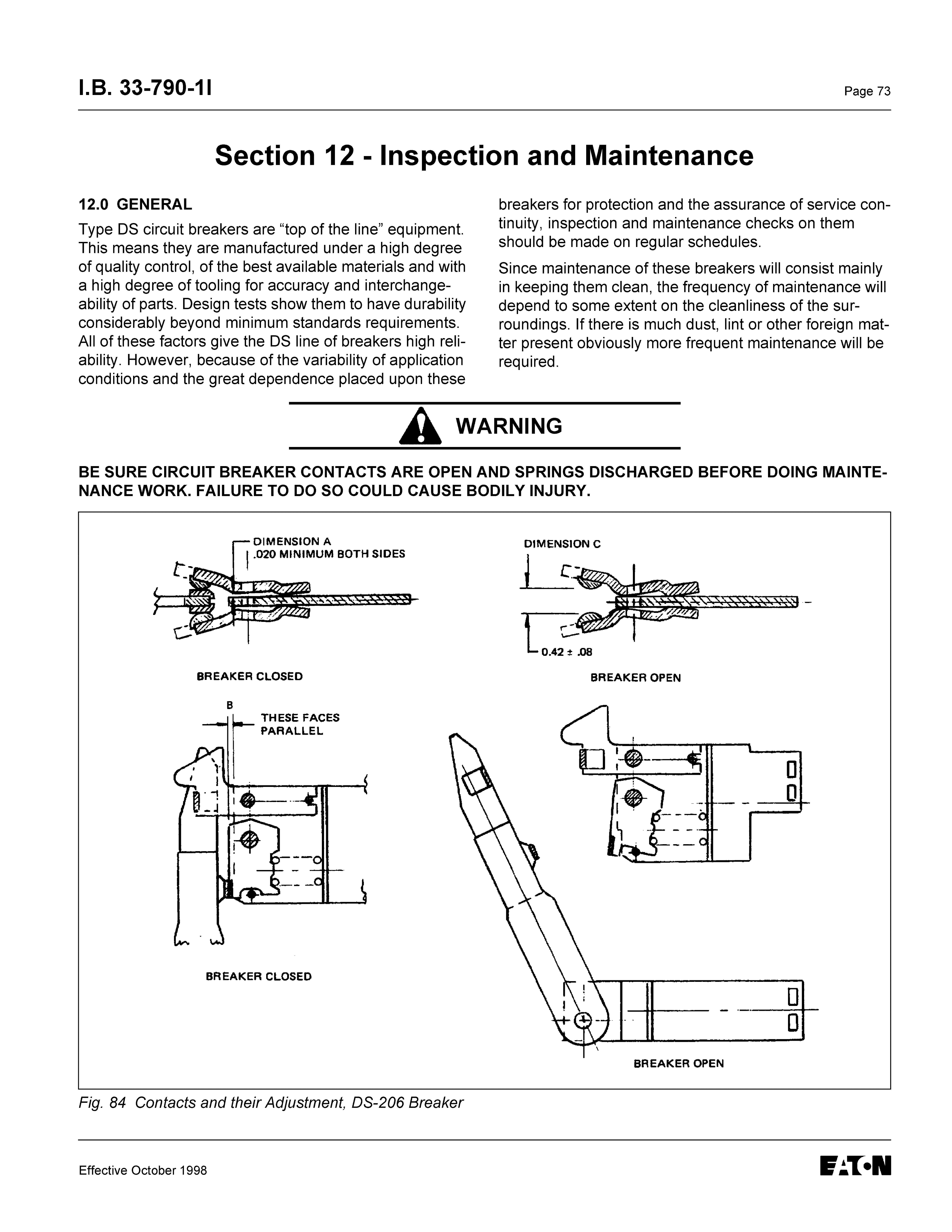 Instructions For Low Voltage Power Circuit Breakers Types Ds And Dsl Replacement Parts Lift Time Delay Breaker 18 33 790 11 Page 73 Section 12 Inspection Maintenance 120