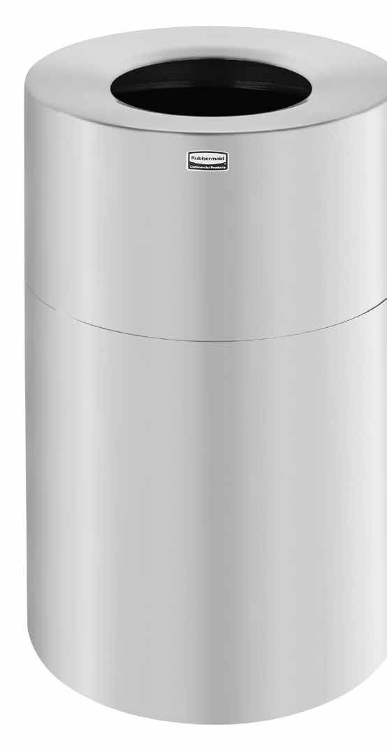 12 gal Round Rubbermaid Commercial Products FGSO16SBSGL Side Open Refuse Container