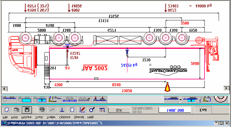 Software for commercial vehicle construction, truck and trailer