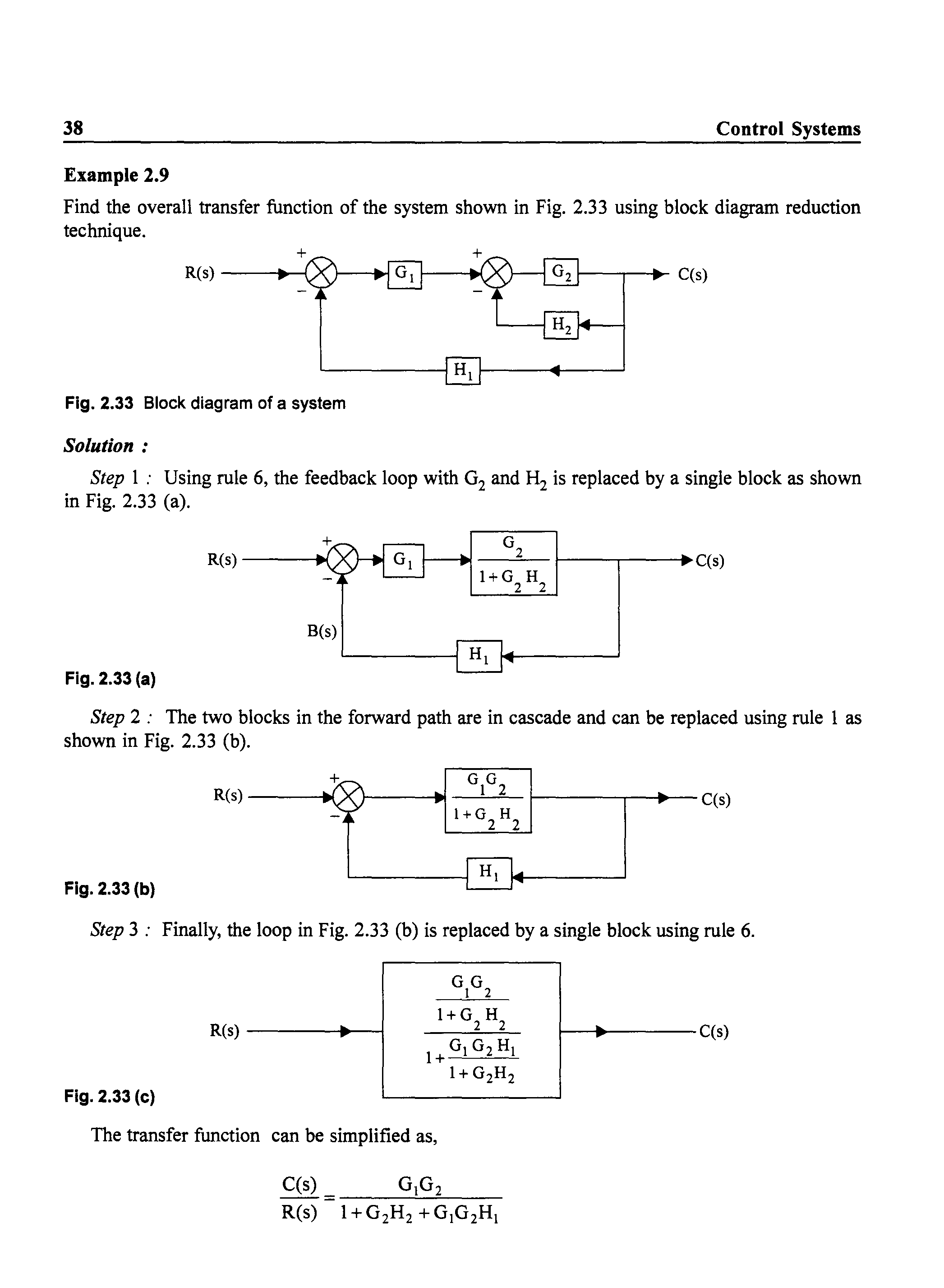 38 Control Systems Example 2.9 Find the overall transfer function of the  system shown in Fig