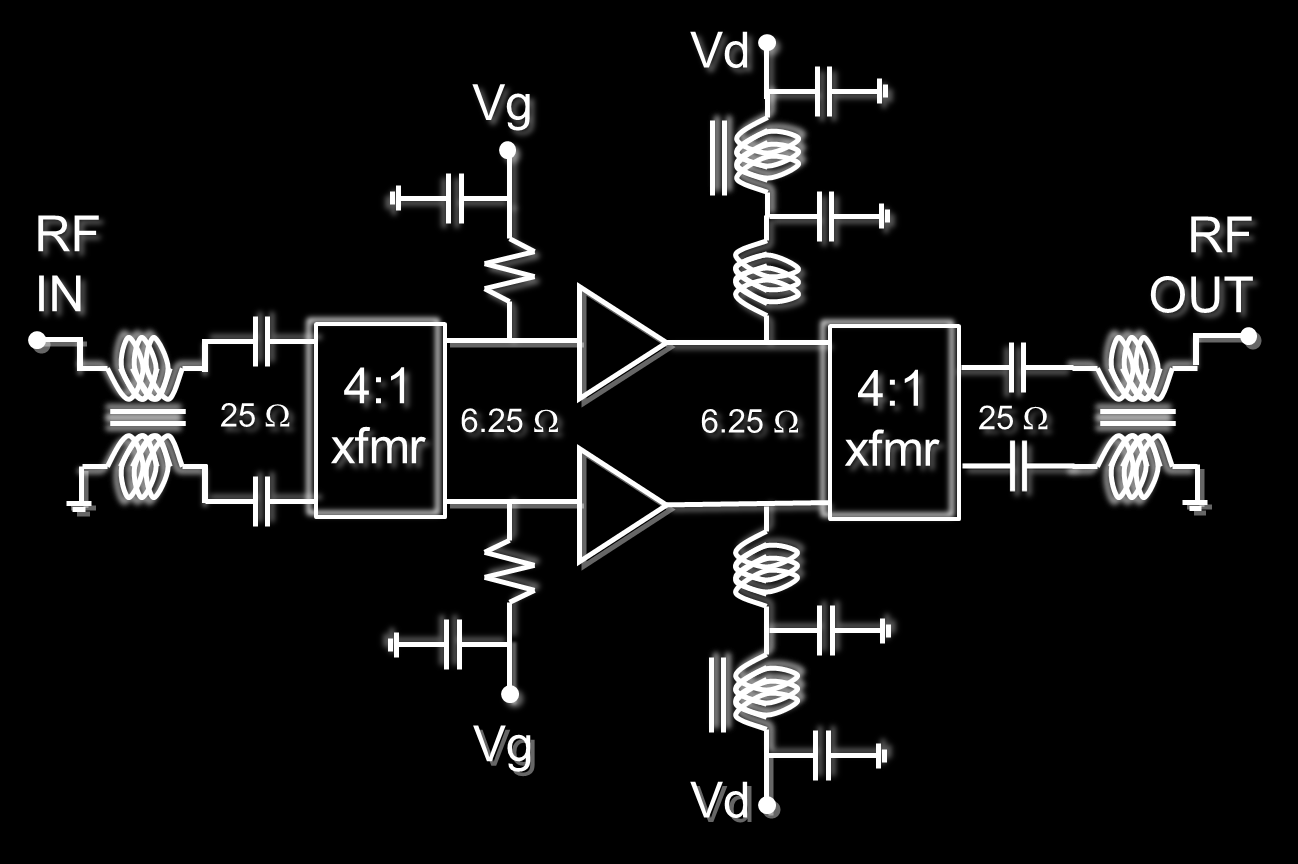 Multi Octave Practical Power Amplifier Realization Using Gan On Sic Wireless 51 Mosfet Circuit View Combination Matching Two 25w Matched Unit Amplifiers Are Combined Together Broadband 100w Peak