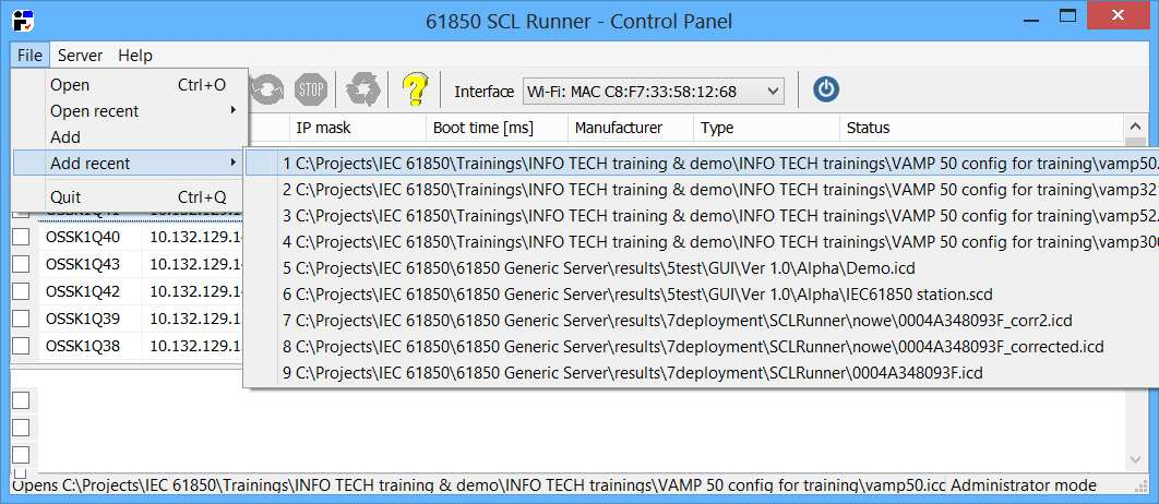 61850 SCL Runner  The tool capable of simulating a network of IEC