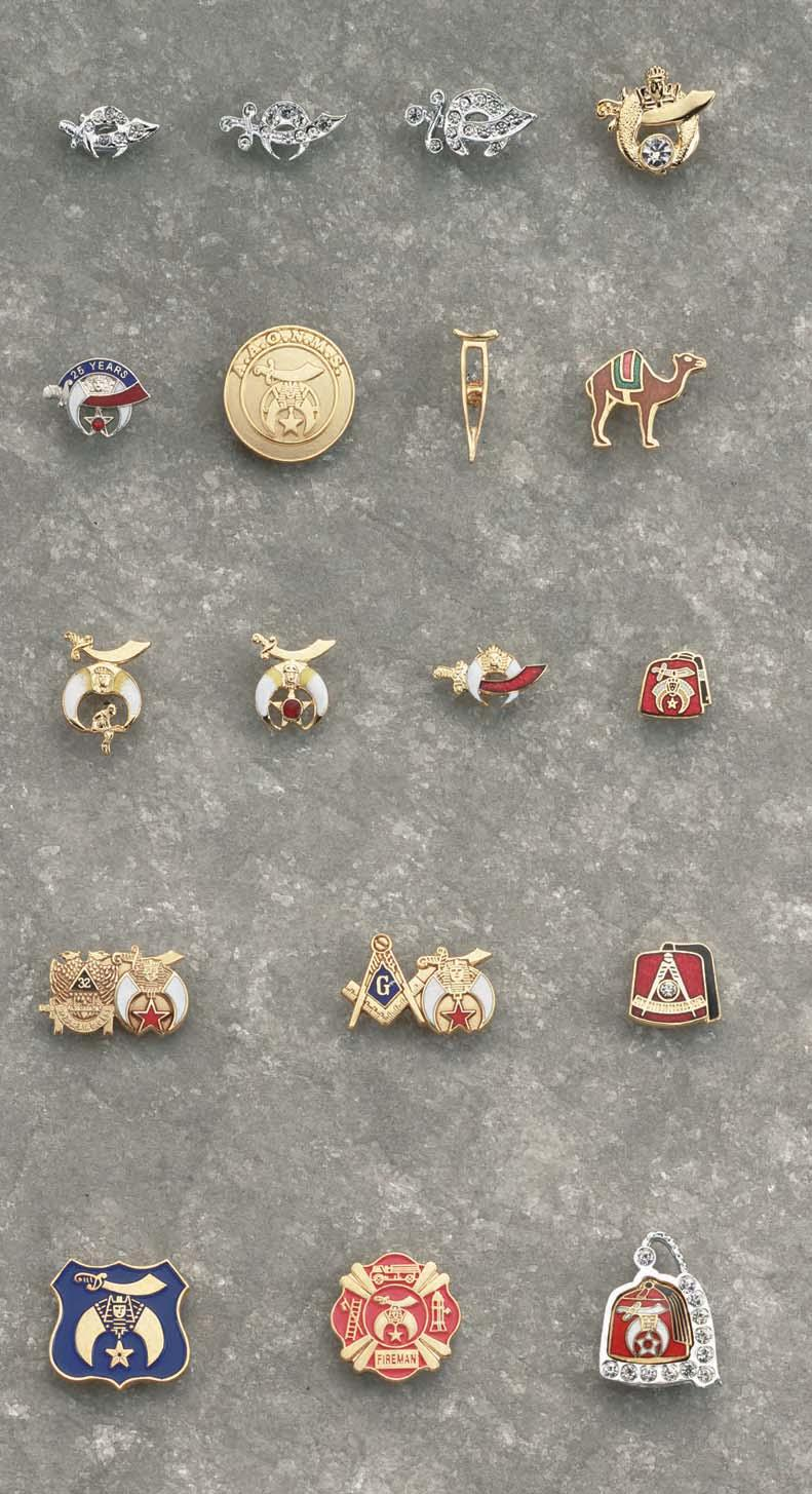7103eb20f30 Shrine Lapel Pins SHRIN LPL with 7 clear gems. No. 27X (polybagged)