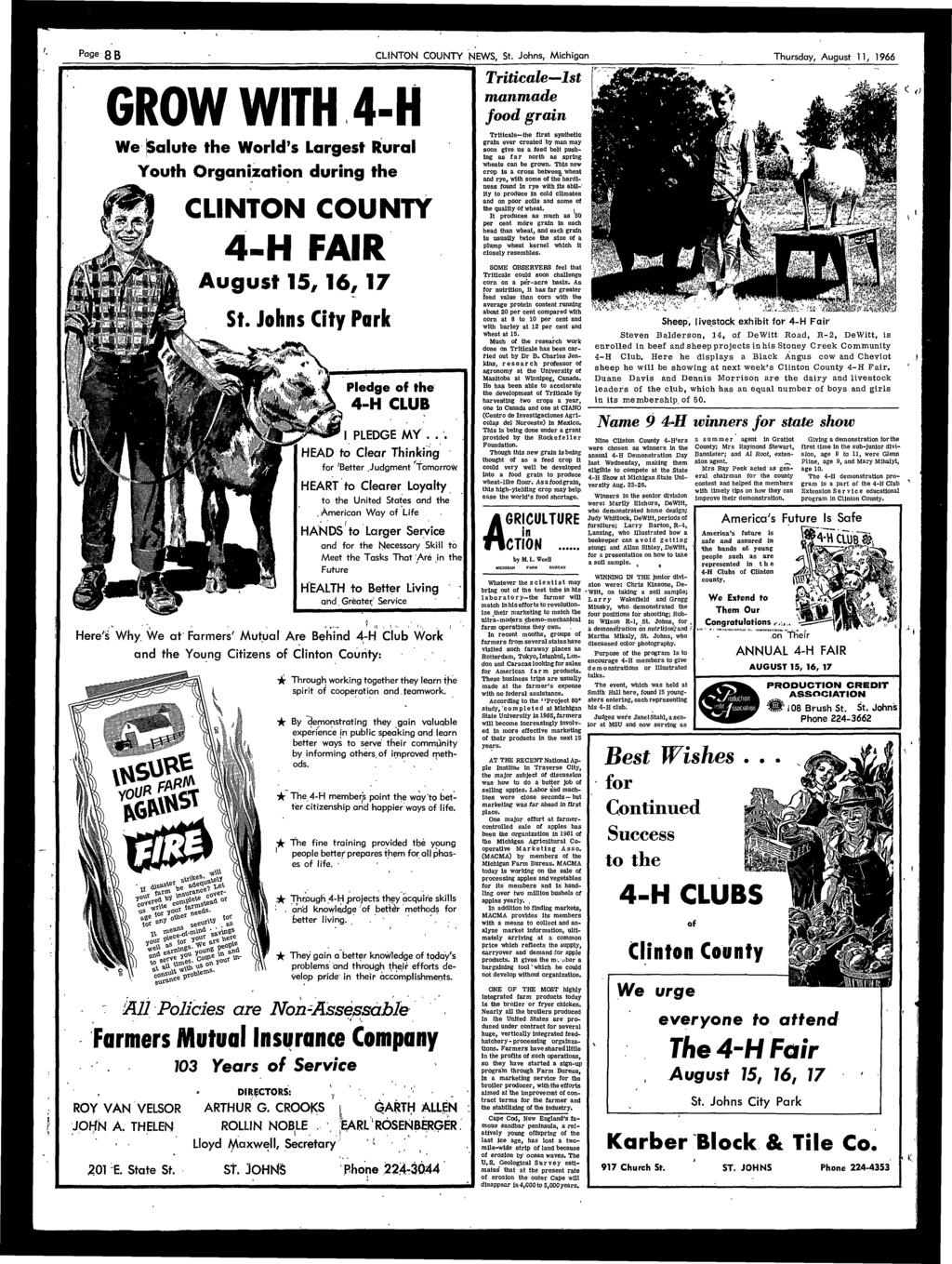 2 more die in county traffic page 2 a pdf 1963 Advertisements Budweiser r page 8b clinton county news st johns michigan thursday august 11