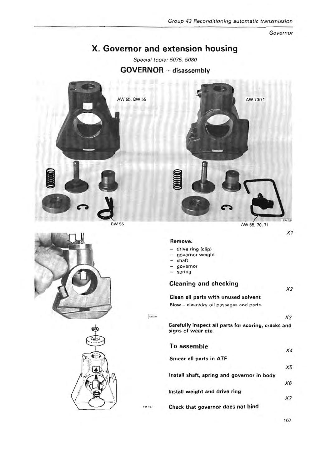 Group 43 Reconditioning automatic transmission Governor X.