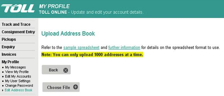 How to import your Toll Lite Address Book into Toll Online - PDF