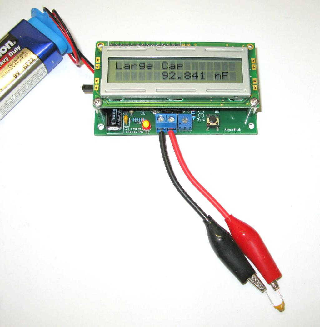 Diy Capacitor Meter Kit Pdf In A Dc Circuit There Is 9v Battery Series With Calibration Disconnect The Use Small Screwdriver To Trim Resistance Of R3